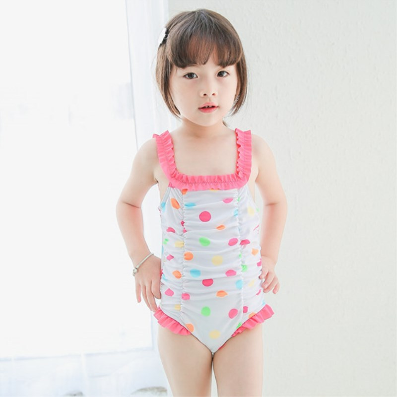 Micro Color Dotted Wrinkled One-piece Swimwear CHILDREN'S Small CHILDREN'S Baby GIRL'S KID'S Swimwear