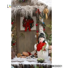 Laeacco Winter Snow Christmas Festivals Snowman Vivid Rural House Ball Baby Party Portrait Photo Background Photography Backdrop
