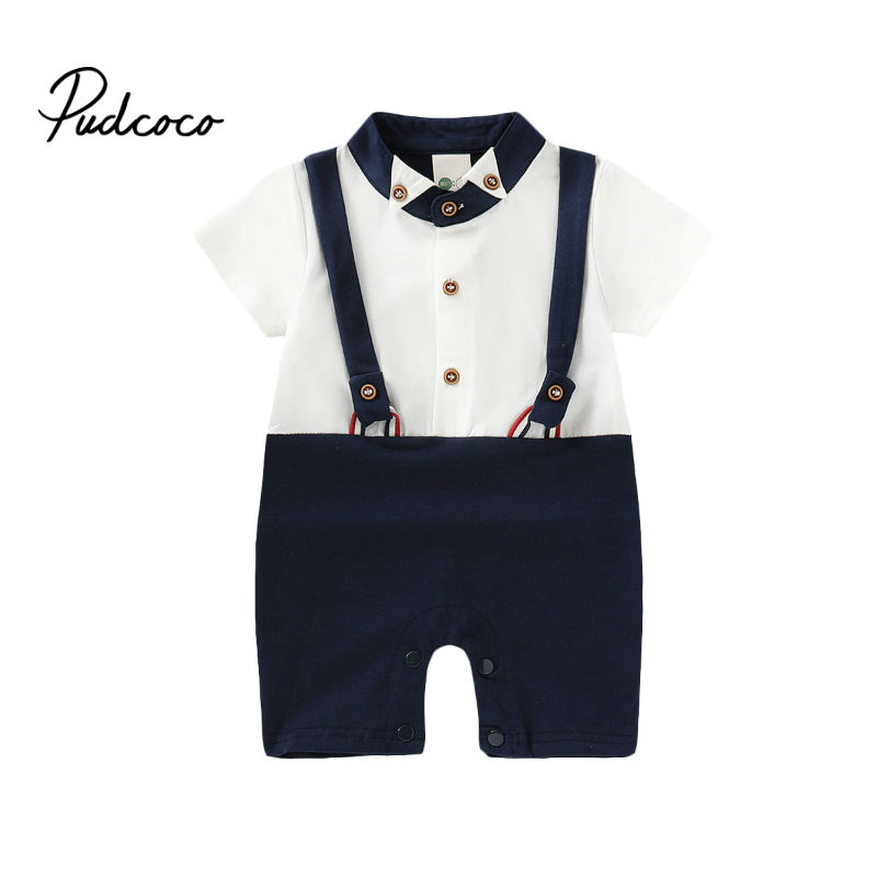 2019 Summer Style Baby Boy Clothes Set Short Sleeve Jumpsuits Gentleman Newborn Baby Clothing Infant Toddler Romper Playsuits