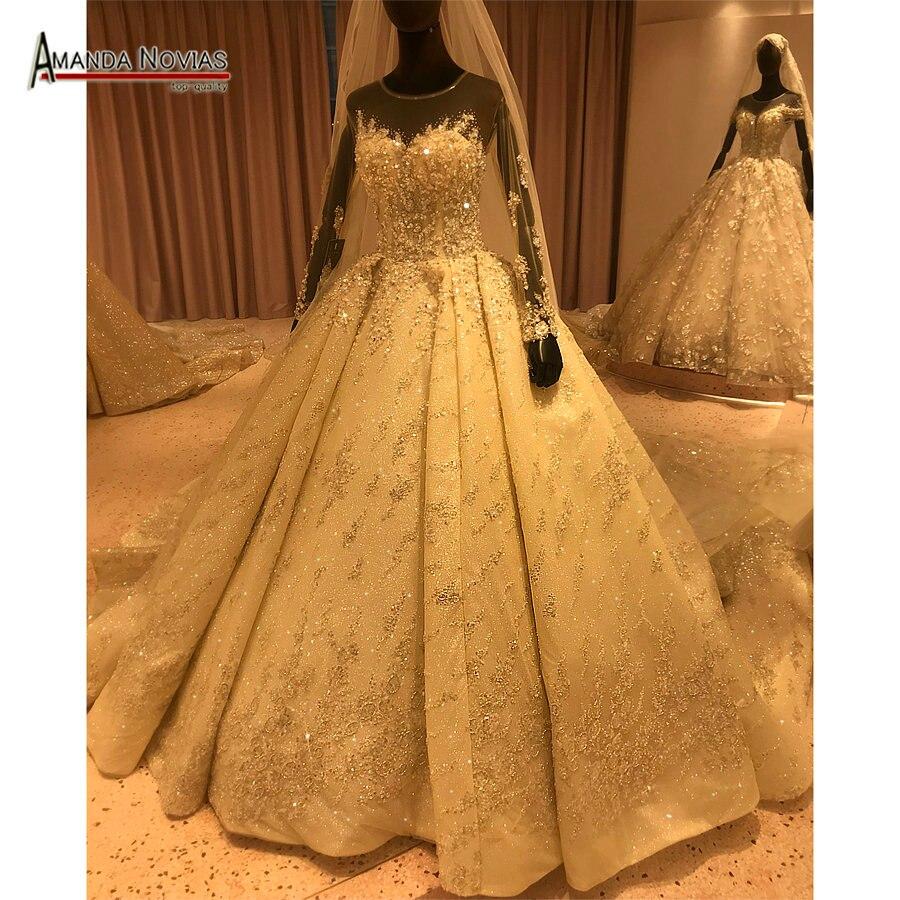 Image 2 - فستان عروس فاخر 2020 مطرز بالكامل فستان زفاف عمل حقيقي ماركة أماندا نوفيافساتين الزفاف   -