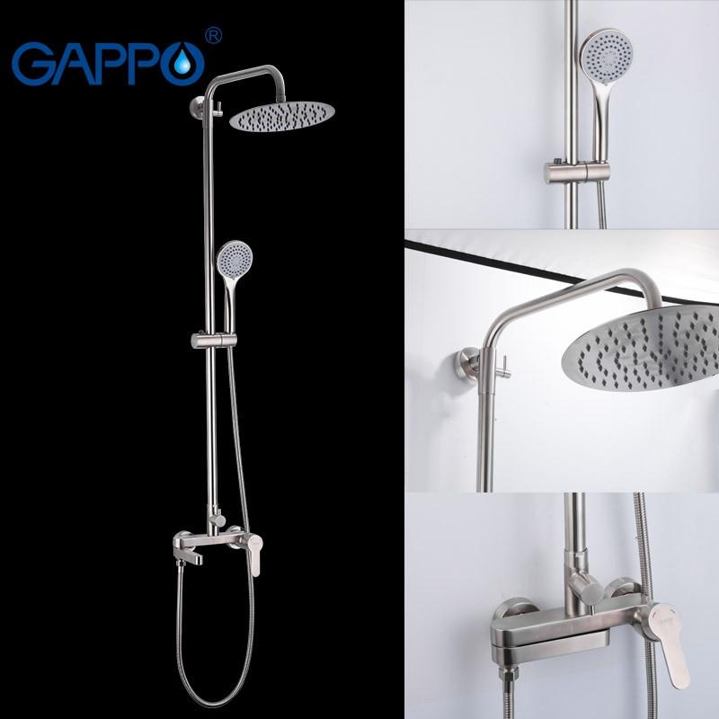 Gappo conjunto torneiras de chuveiro do banheiro água fria e quente 304 aço inoxidável banheiro misturadores chuveiro grande redondo sobre a cabeça