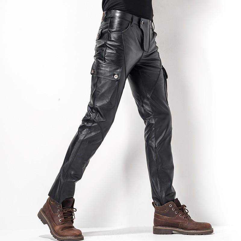 Euro Brand New Motorcycle Men's Leather Pants Pants Leather Bag Leather Cutting Style Fashion Men's Pencil Pants