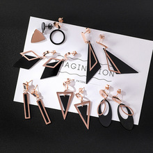цена на Fashion Drop Earrings Long Tassel Titanium Steel Earrings Temperament Triangle Round Geometric Earrings Women Jewelry Gifts