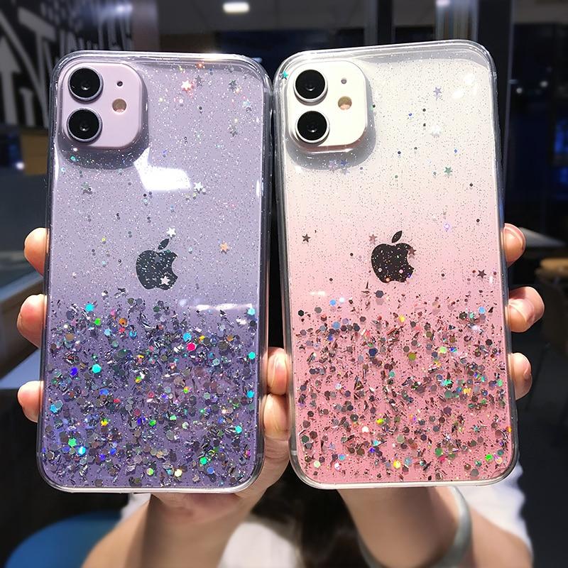 Clear Glitter Phone Case For iPhone 12 Pro 11 Pro Max XS Max XR X 7 8 Plus 12 Mini SE 2020 Cute Gradient Rainbow Sequins Coque