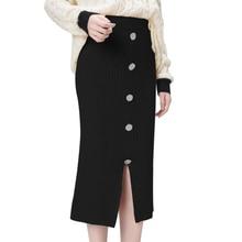 OEAK 2019 Autumn Winter New Women High Waist Knitted Skirt Female Warm Skirt Long Solid Female Rib Skirts With Button