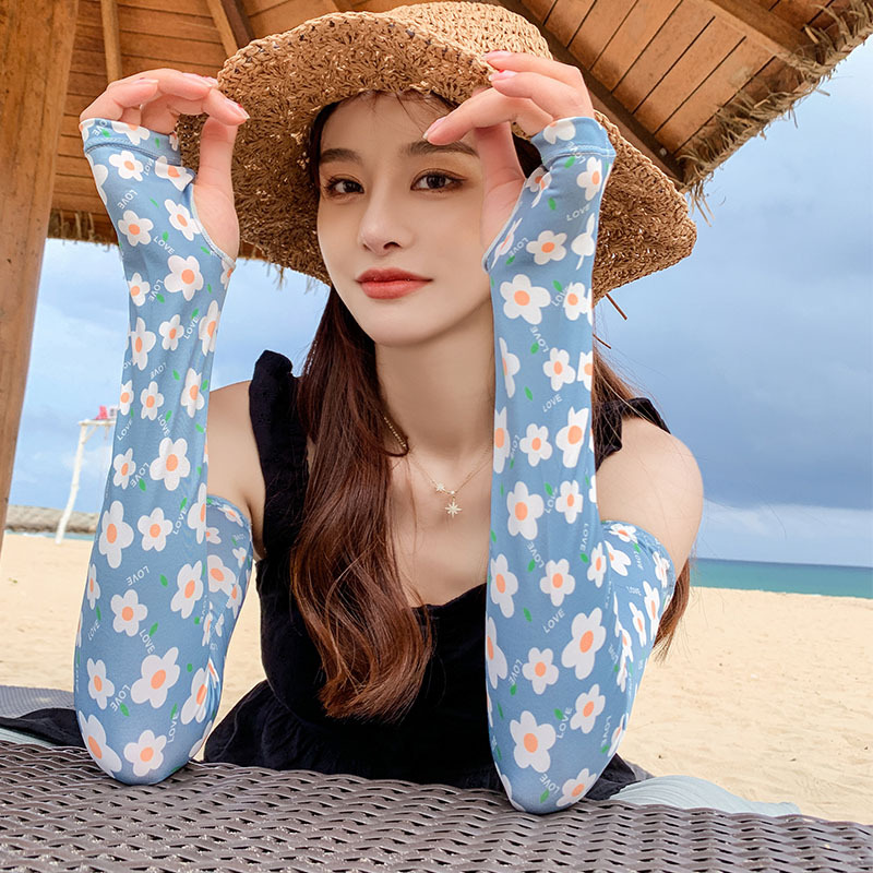Summer Sun Protection Arm Cuffs Race Riding Half Finger Ice Silk Sleeves Girl UV Protection Sleeves