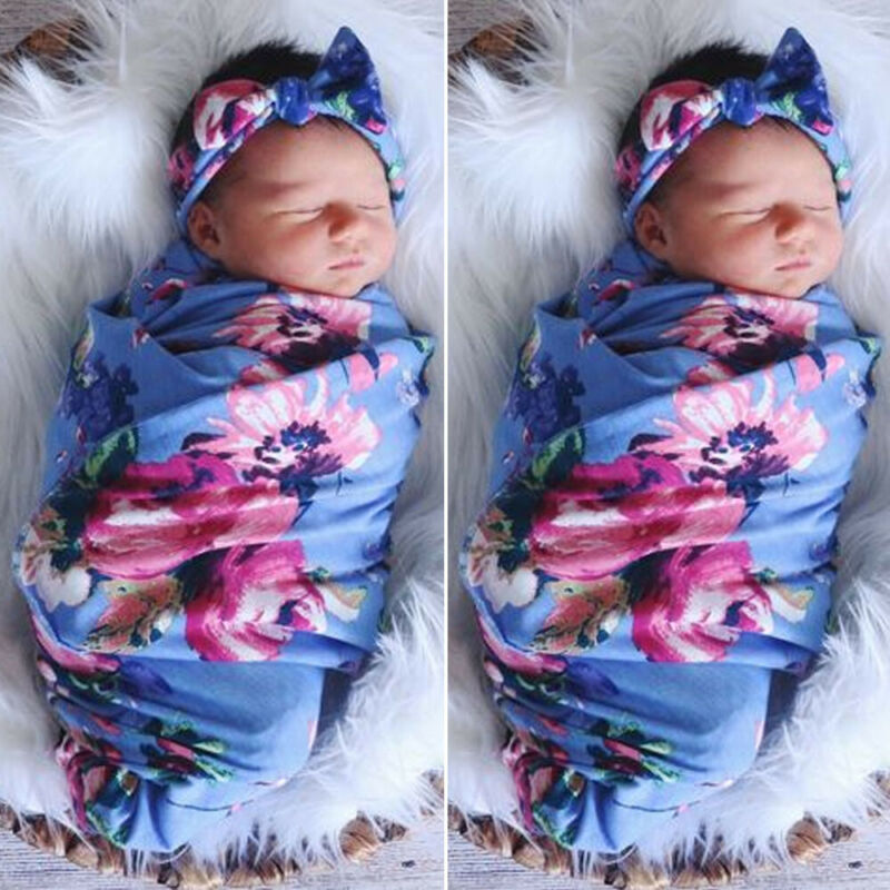 CANIS Hot Newborn Baby Girl Boy Floral Printed Swaddle Wrap Blanket Sleeping Bag+Lovely Headband Outfits Set