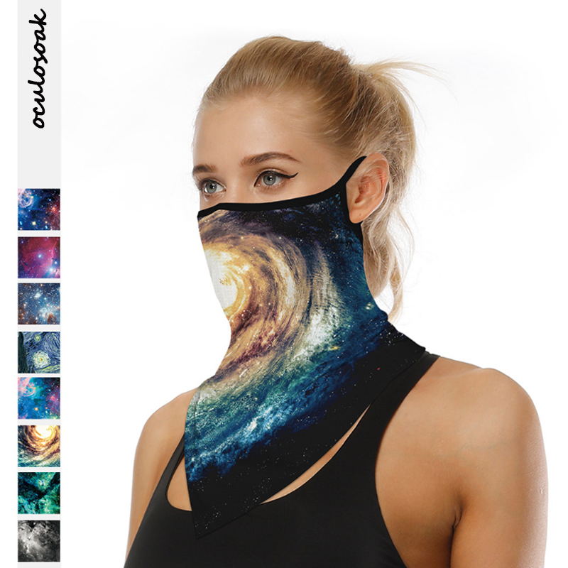 2020 New Best Selling Starry Sky Digital Printing Multifunctional Hanging Ear Sunscreen Breathable Triangle Scarf Outdoor Scarf