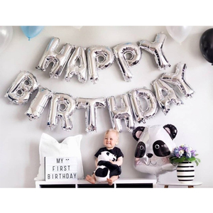 Image 5 - 1st Happy Birthday Blue Silver Balloons Foil Number Balloons Banner First Baby Boy Party Decorations My 1 One Year Supplies