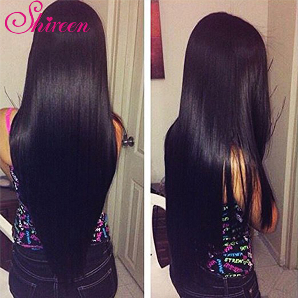 Shireen Brazilian Straight Hair Bundle With Frontal Remy Hair Natural Black Color With Bundles Human Hair 3Bundles With Frontal
