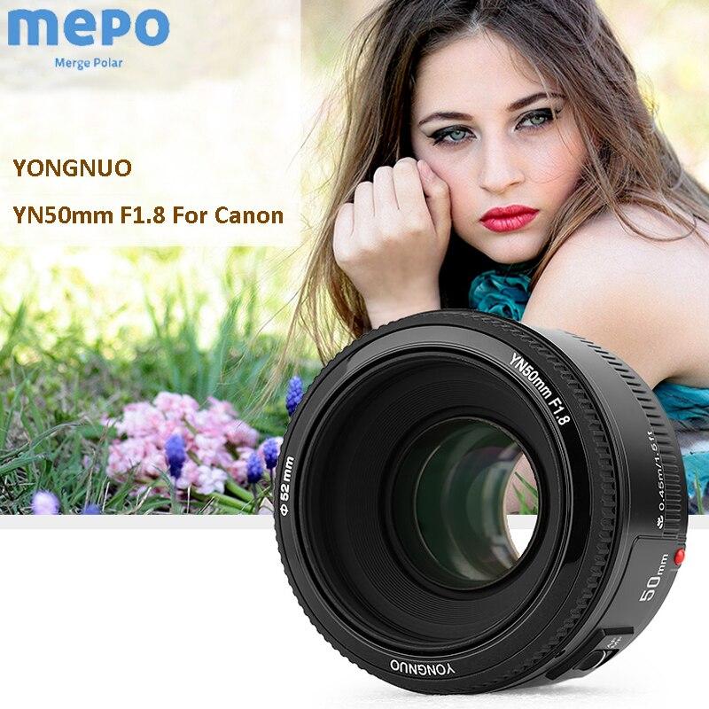 YONGNUO 50mm F/1.8 objectif de mise au point automatique YN EF EOS 50MM objectif de l'appareil photo pour Canon rebelle T6 EOS 700D 750D 800D 5D Mark AF MF ouverture de l'objectif