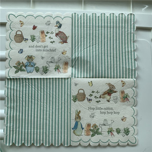 Image 4 - 20 בציר מפיות נייר אלגנטי רקמות חמוד ארנב ברווז עציץ פרפר מגזרת נייר חתונת יום הולדת אריזות מפלגה דקור