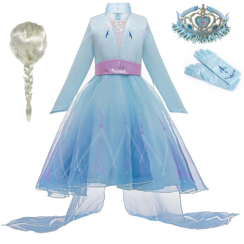 Retail New 3-12 Years Cosplay Princess Dress Anna Elsa 2 Carnival Costume Girls Dress Children Party Clothing Kids Vestidos