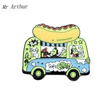 HotDog Soft Bus Enamel Pin Dog Driver Badge Brooch Backpack Clothes Lapel Animal Car Jewelry Gift for Friends(China)