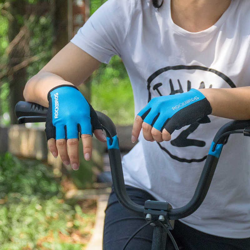 Rockbros luvas de ciclismo metade do dedo da bicicleta luvas à prova de choque respirável mtb mountain bike luvas dos homens esportes ciclismo roupas