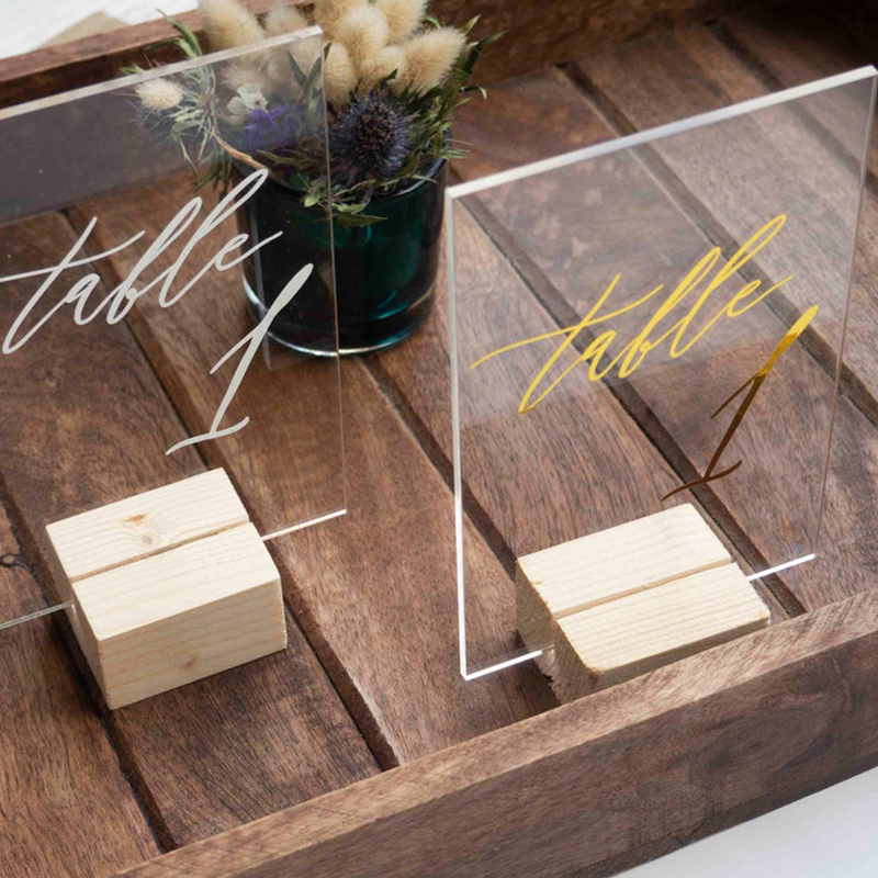 Personalized Wedding Table Numbers with Holders Clear Acrylic Gold Calligraphy Wedding Signage Clear Wood Table Number Stand