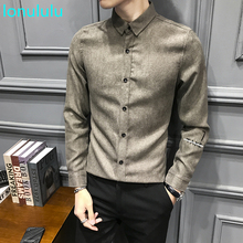 Spring new Korean slim embroidered shirt for men's British style fashionable long sleeve shirt for men british style old tree and single wolf pattern t shirt for men m