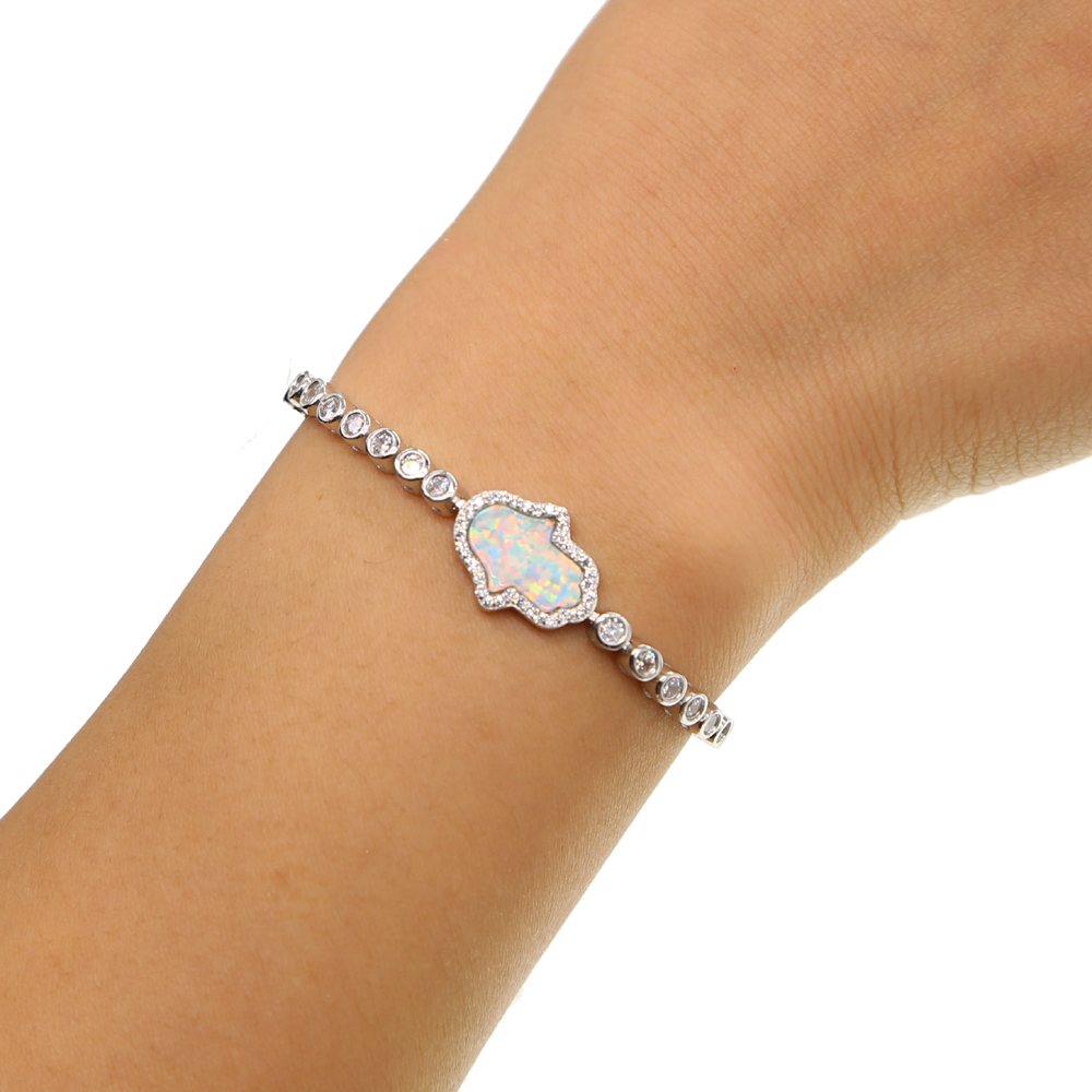 New Fashion white Opal Mother of Pearl Shell turquoises paved Hamsa Hand of Fatima Genuine 925 Sterling Silver opal Bracelet(China)