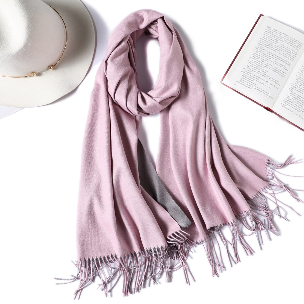 2020 Brand Winter Scarf For Women Fashion Double Side Colors Lady Cashmere Scarves Pashmina Shawls And Wraps Warm Bandana Hijabs