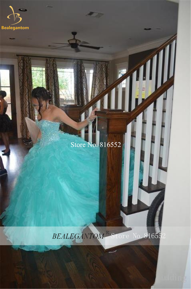 Bealegantom Quinceanera Dresses 2021 Ball Gown Lace Crystal Beaded Sweet 16 Prom Party Dress Vestidos De 15 Anos