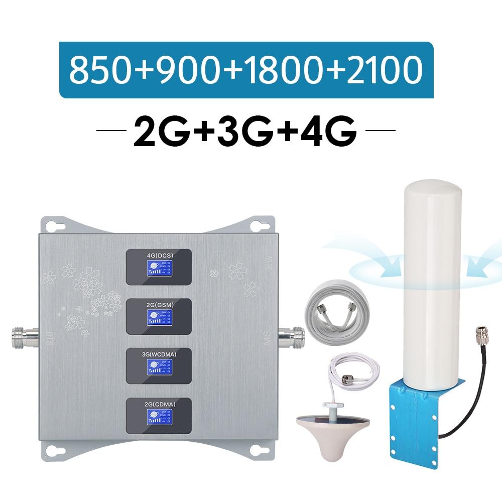 Israel New Zealand Signal Amplifier CDMA 850 GSM 900 DCS 1800 WCDMA 2100 Mhz Quad Band Repeater B5 B8 B3 B1 2g 3g UMTS 4g LTE @1