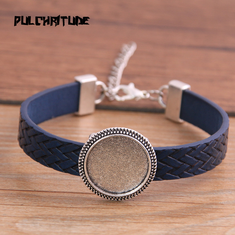 New 1pcs 8 Color PU Bangles Base Setting Cuff Blank Trays Brazel Fit 18mm Glass Cabochon DIY Bracelet Jewelry Making