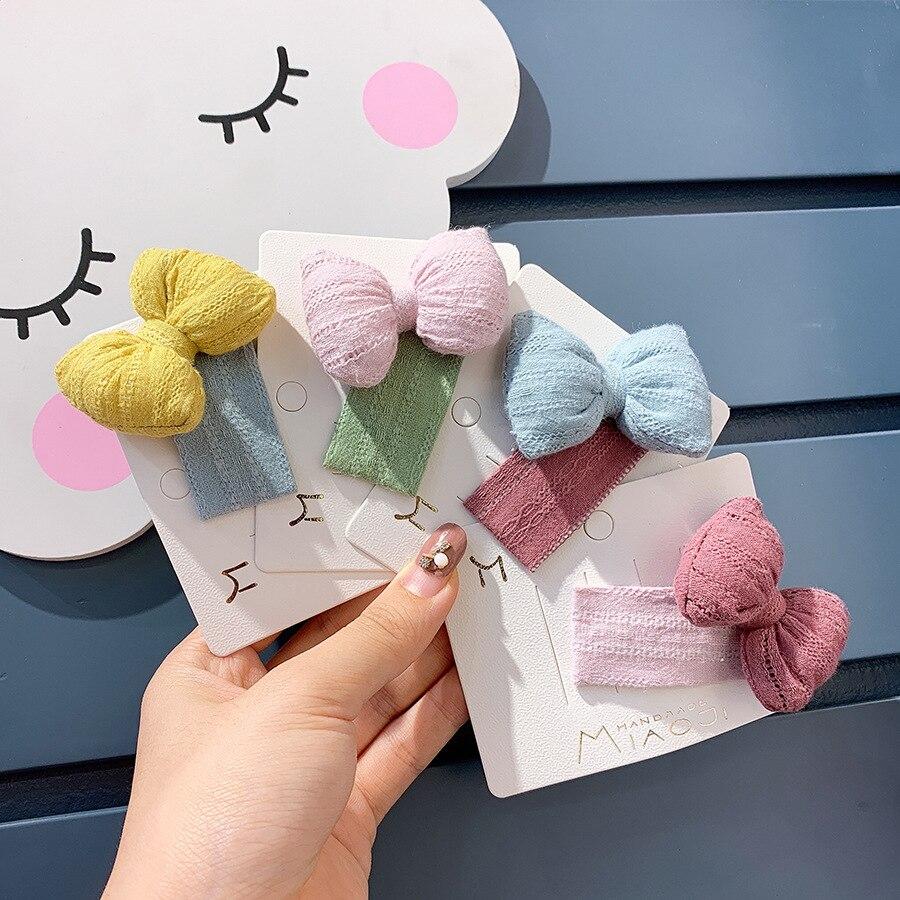 Korean Children's Jewelry Lovely Girl Bb Clip Japanese Hair Clip Cotton Hemp Bow Hair Ornament Hair Clip Girls Bow Hairpin