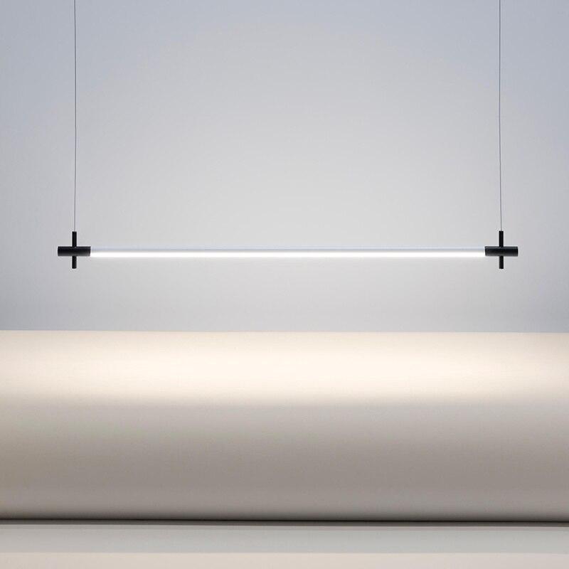 Minimalist Strip Pendant Lamp Office Restaurant Dining Room Pendant Lights Modern LED Strip Hanging Lamp Decor Light Fixtures