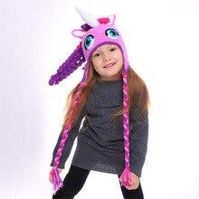 Детская шерстяная Осенняя шапка в виде единорога, зимняя теплая вязаная шапка высокого качества ручной работы для детей, фиолетовая шапка в виде рога, HT19038
