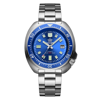 1970 Abalone 200m Diver Watch Sapphire crystal calendar NH35 Automatic Mechanical Steel diving Men's watch - Steel blue
