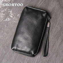 GROJITOO New Men's Leather Hand Bag Women Soft Leather Long Purse Fashionable And Simple Leather Mobile Phone Bag Clutch Bag