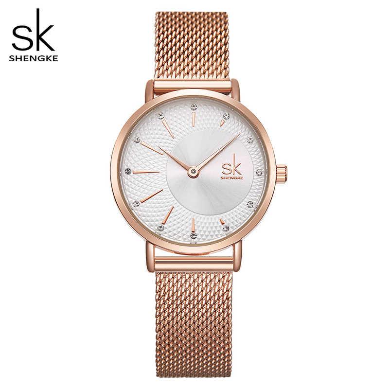 Shengkeนาฬิกาควอตซ์ผู้หญิงตาข่ายสแตนเลสสตีลนาฬิกาข้อมือJapan Movement Bayan Kol Saati Reloj Mujer 2020