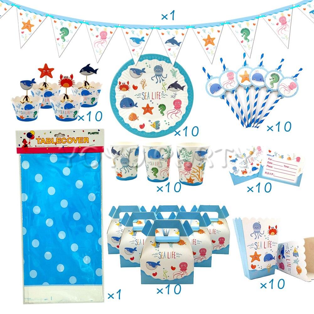 8Pcs Marine life Paper Tableware Set Disposable Kids Happy Birthday Party Decor
