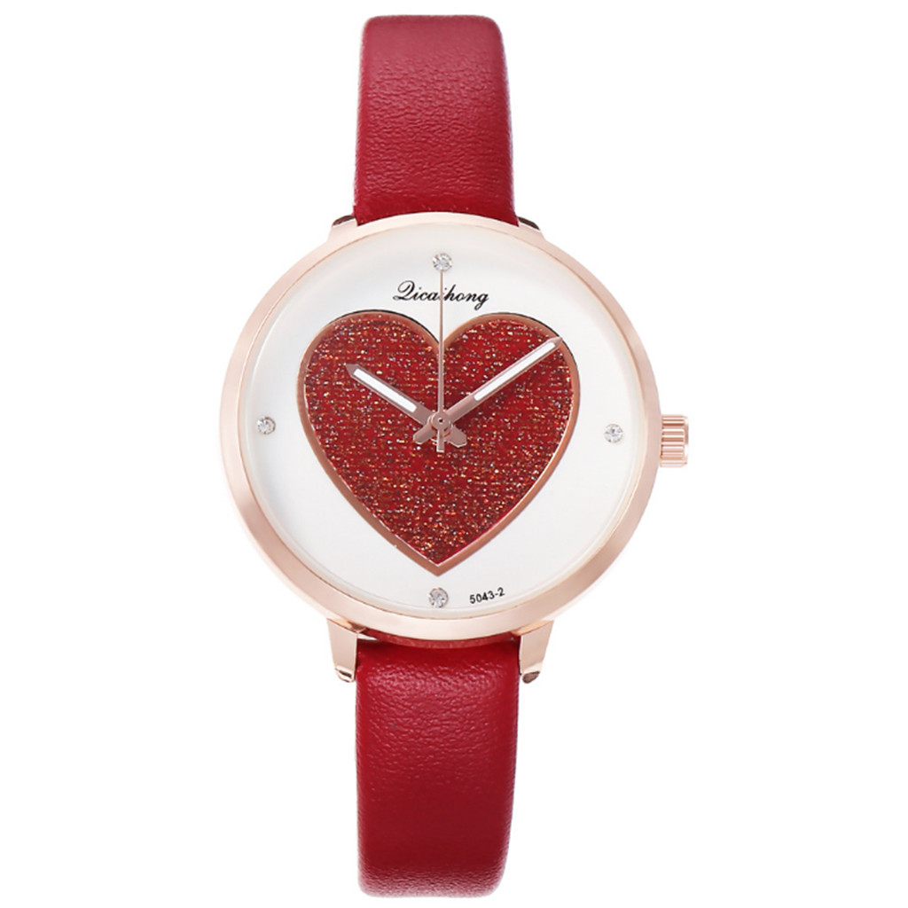 Casual Small Fresh Couple Watch Women's Individual Peach Heart Dial Belt Watchwrist Women Watch Clock Wristwatch Dropshipping