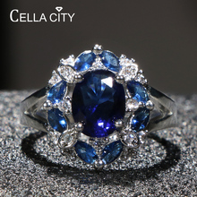 Cellacity Trendy Design Silver 925 Ring for Women Fine Jewelry 3 colors Gemstones Ruby Aquamarine Sapphire Rings Party Size6-10