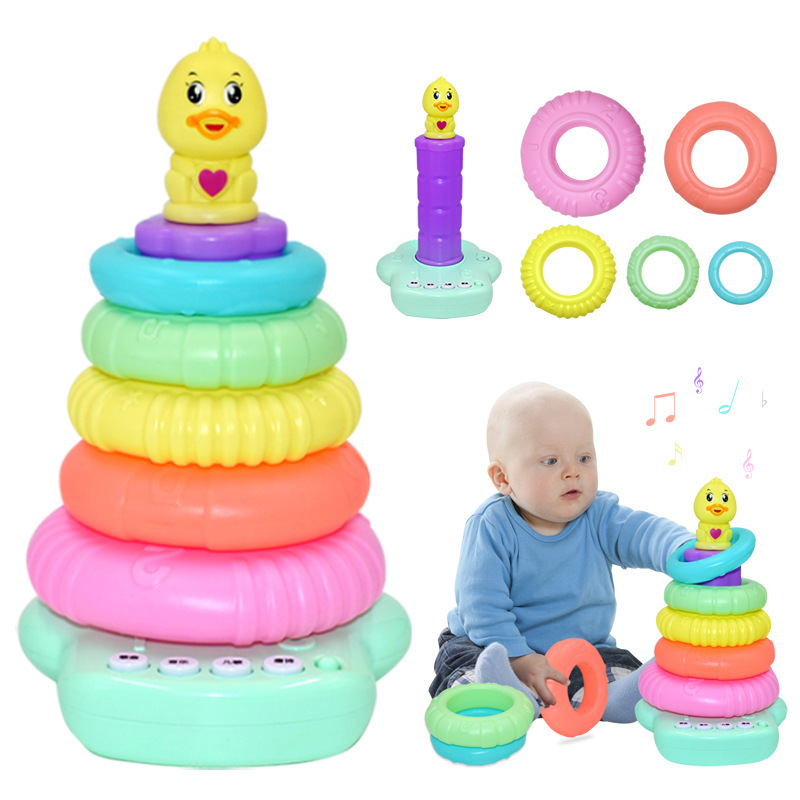 Infant Smart Jenga Set Early Education Electric Music CHILDREN'S Song Tang Poetry Songs Throw Circle Toy Douyin Hot Selling