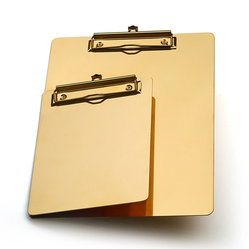 Gold Metal Writing Sheet Pad Clipboard Menu Data File Storage Folder For Office Restaurant Hotel Home