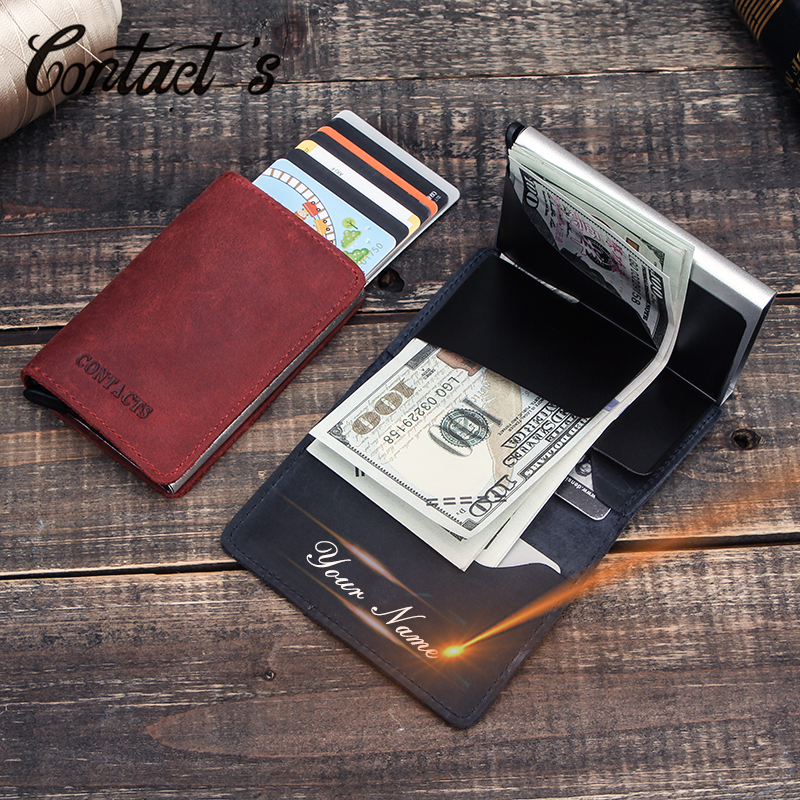 Contact's Business ID Credit Card Holder Crazy Horse Leather Card Wallet For Men Metal RFID Aluminium Card Case Short Purse 2020