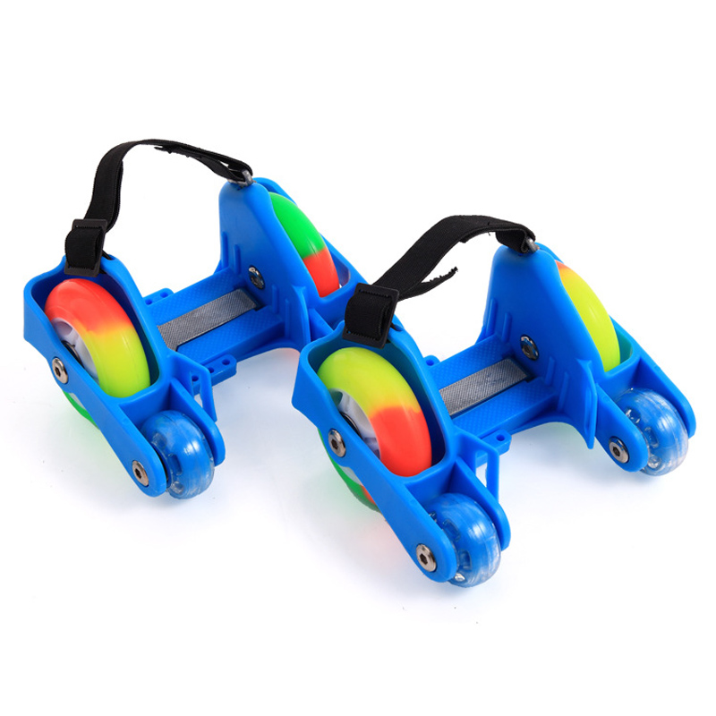 1 Pair Children Roller Shoes Skates 4 Fire Wheels Small Motor Flash Shoes Roller Adjustable Portable For Kids Boy And Girl