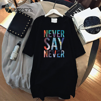 Women Dresses NEVER Series Letter Plus Size Black Mini Dress Loose Summer Long T Shirt Casual Clothes Femme Tops White Sukienka 159