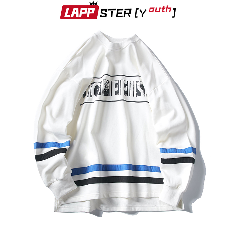 LAPPSTER Designer Harajuku Streetwear Hoodies 2019 automne hommes mode coréenne Hip Hop Sweatshirts à capuche rayé Sweatshirts 2XL