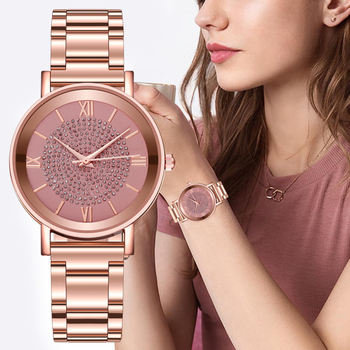 Zegarki damskie 2020 luksusowe róża diamentowa złota panie zegarki magnetyczne kobiety bransoletka zegarek dla kobiet zegar Relogio Feminino tanie i dobre opinie HEZHUKEJI QUARTZ Klamra CN (pochodzenie) STAINLESS STEEL 3Bar Moda casual 20mm ROUND Brak Szkło Women Watch 23 5cm Nie pakiet