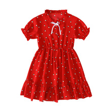 Summer Girls Dresses Girls Short Sleeve Strawberry Print  Dress Kids Elegant Princess Dress Party Ball Pageant Dress Outfit autumn winter girls princess mini dress kids baby girls party wedding pageant long sleeve sweater dresses cute ball kids costume