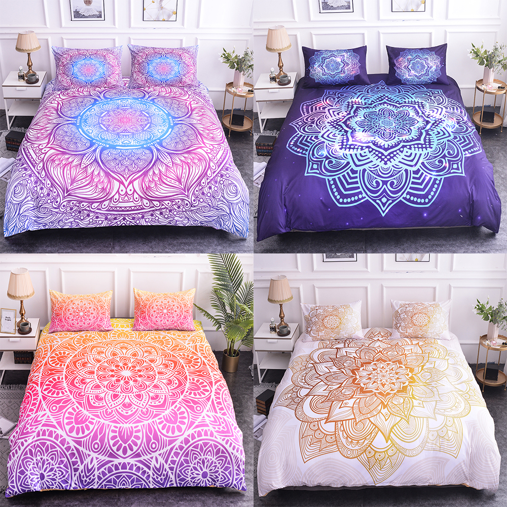 Homesky 3d Bohemian Bedding Sets Boho Printed Mandala Comforter Bedding Sets Queen Size King Size Duvet Cover Set