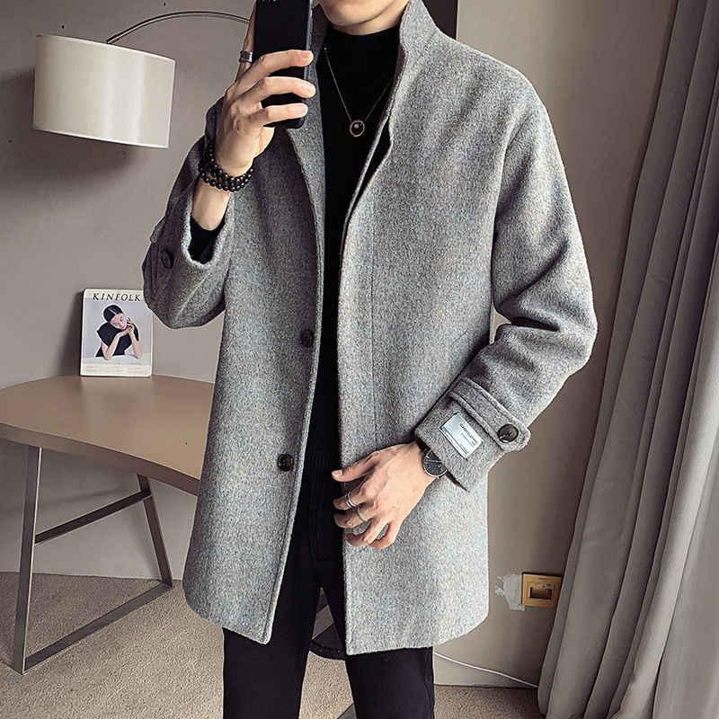 Модное мужское шерстяное пальто, пальто на осень и зиму, Мужская ветровка в Корейском стиле со стоячим воротником средней длины с темной пряжкой, распродажа