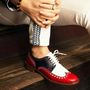 MEN'S FASHION RED WHITE STITCHING GENTLEMAN BROCK CARVED SHOES D336 1