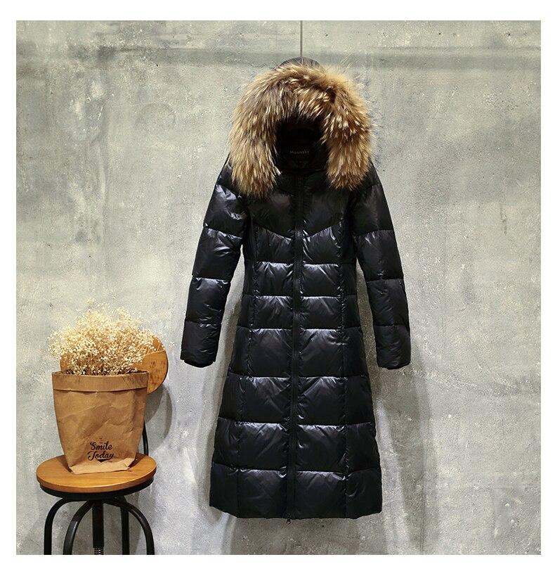 Women Winter 90% Duck Down Jakcet Long Hoody Large Fur Collar Warm Puffer Jacket Windproof Parka Doudoune Femme Hiver LX2517