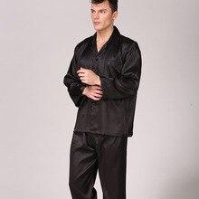 Mens Pajama Set Imitation Silk Pajamas for Men Striped Sleepwear Long Sleeve Pants Silk Suit Large Size Home Clothes rose pink lace details pajamas suit with imitation silk material