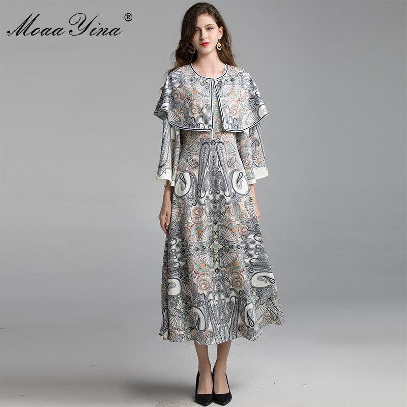 MoaaYina robe de créateur de mode printemps automne femmes robe cape manches évasées Vintage Baroque imprimer robes élégantes