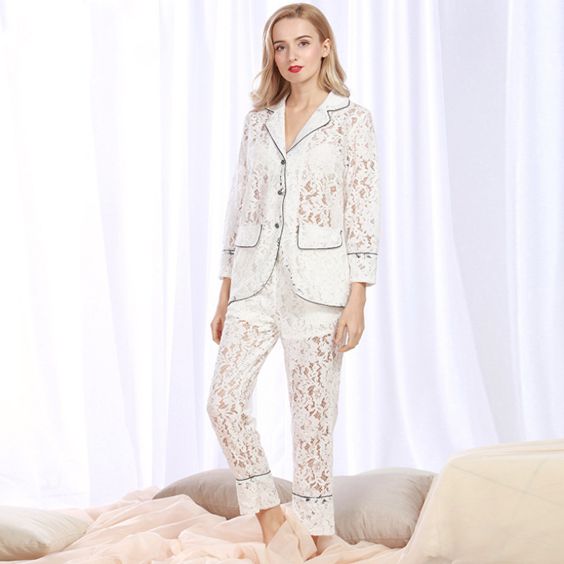 Yao Ting Ninth Sleeve Hollow Out Sexy Lace Pajamas Women's Two-Piece Set Summer Small Suit Collar Tracksuit